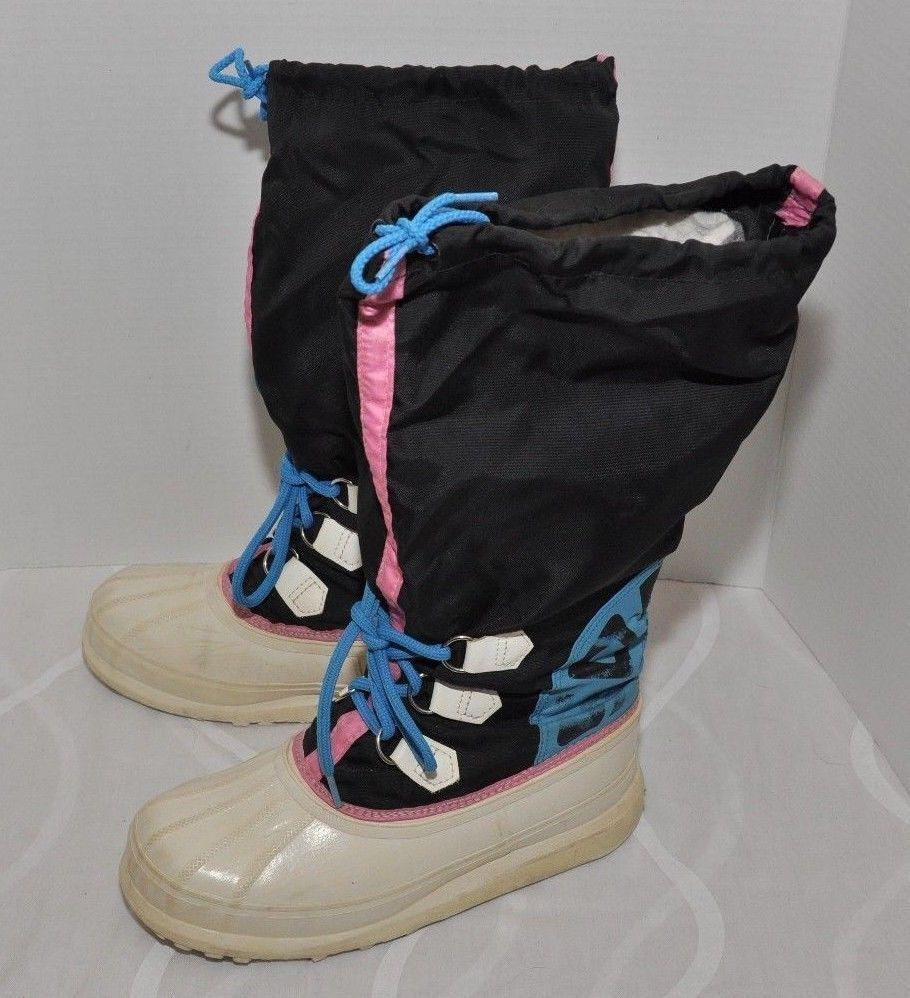 Vintage 90's SOREL Neon Logo snow BOOTS WOMENS SIZE 9 RAIN WINTER ...