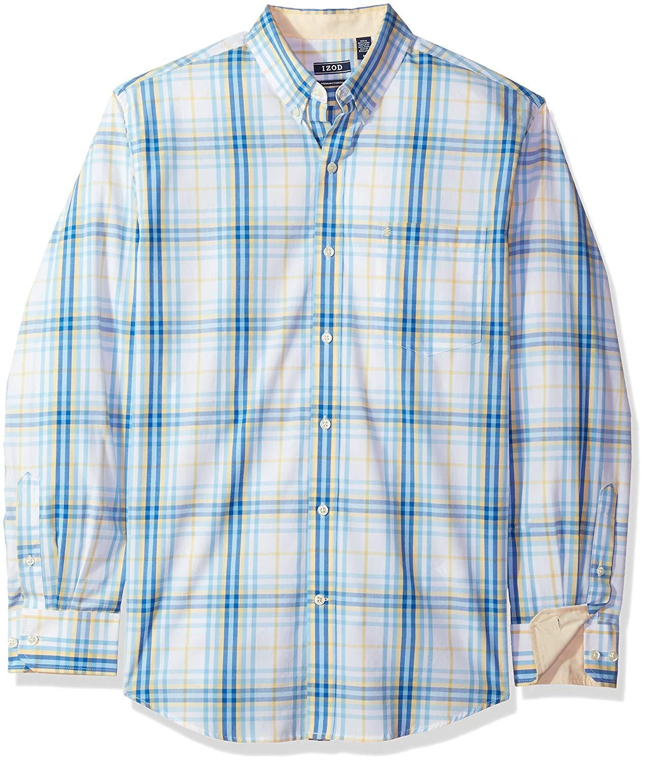 IZOD Mens Button Down Long Sleeve Stretch Performance Plaid Shirt