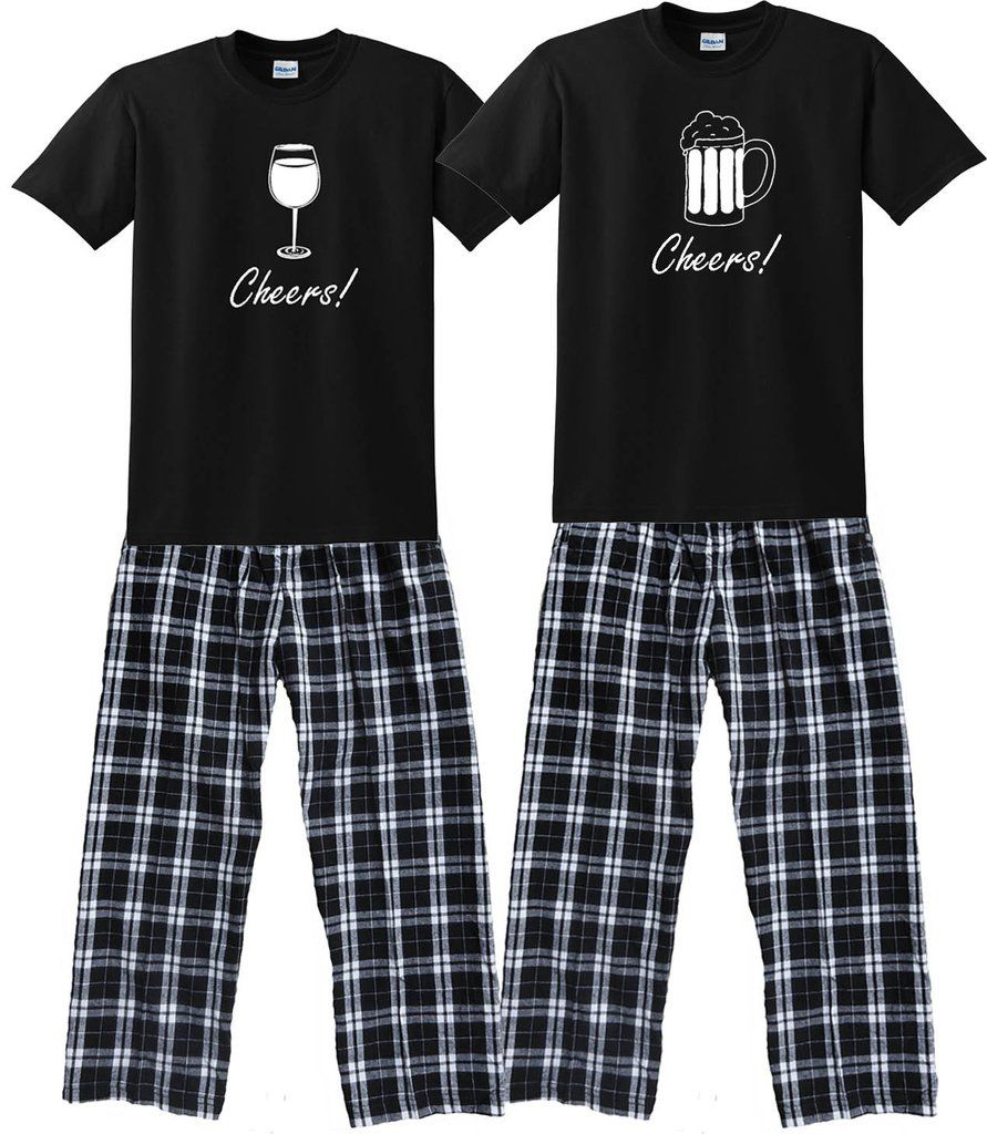 wine glass or beer mug matching couples pajamas