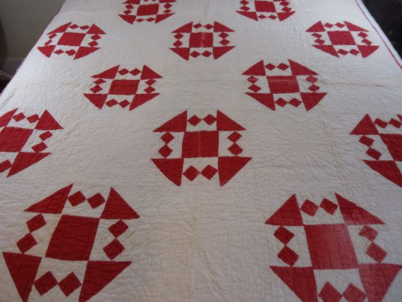 Early 1900s red and white quilt by MapleKnollVintage on Etsy, $150.00