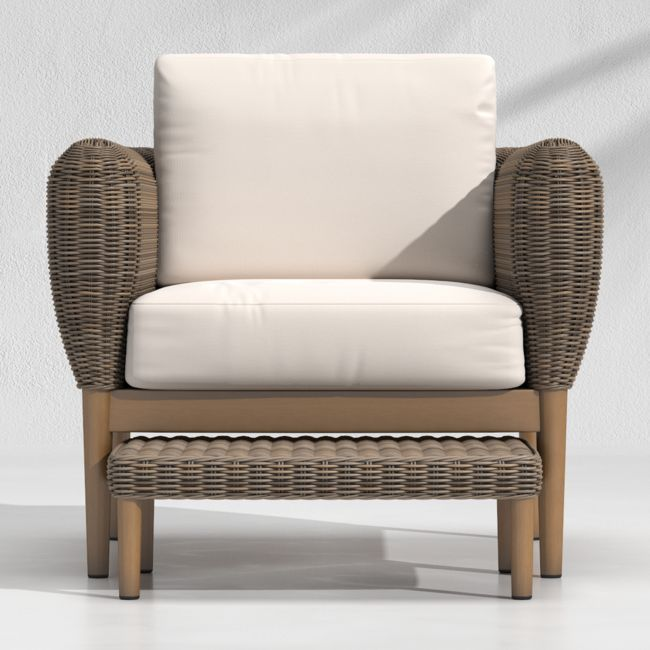 Doren Outdoor Wicker Lounge Chair And Ottoman Reviews Crate And Barrel Outdoor Wicker Lounge Chairs Wicker Lounge Chair Lounge Chair Outdoor