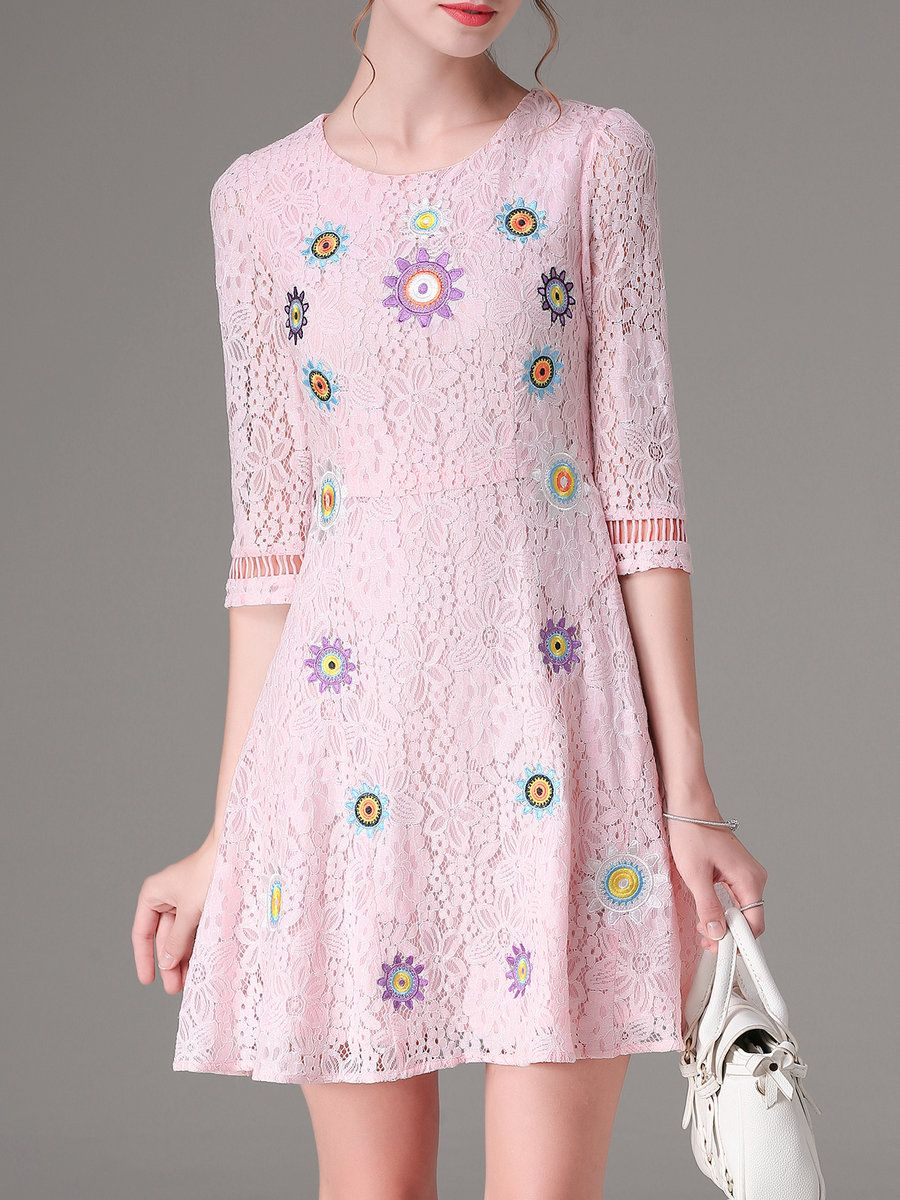Pink crew neck sleeve aline embroidered mini dress mini