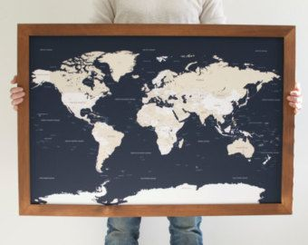 Track your travels and dream up that next adventure with our push pin travel map navy blue world map push pin map handcrafted wood frame wedding anniversary gift christmas gifts for mom gumiabroncs Choice Image