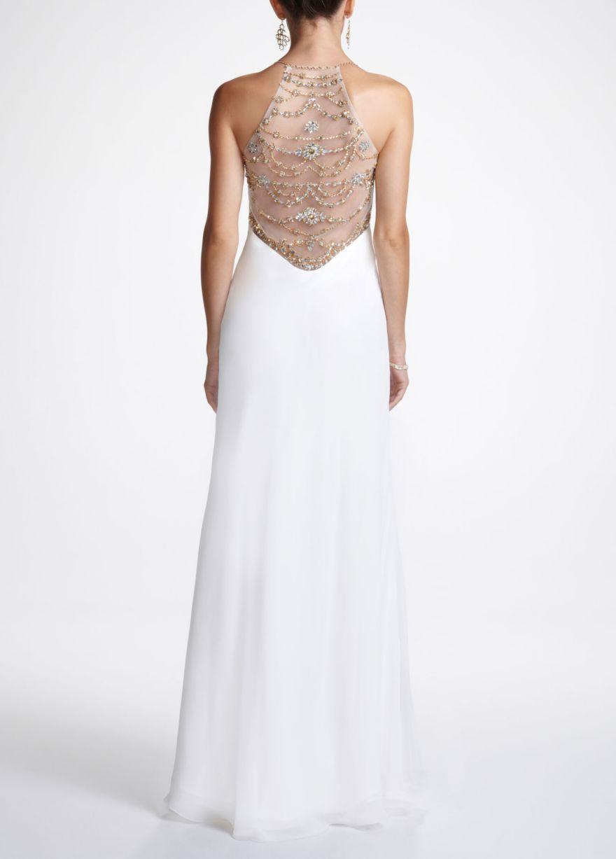 Long chiffon prom dress with beaded back detail davidus bridal