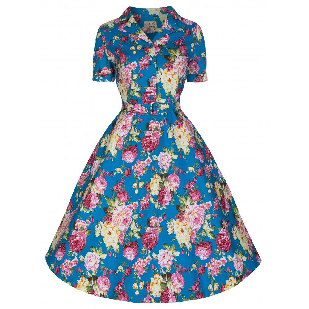 Uma\' Beautiful Blue Floral Bouquet Print Vintage 50\'s Inspired Tea ...