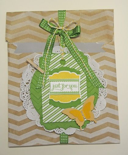 Supplies:  Tag a Bag bundle, Deco Labels framelit, Whisper White, Crushed Curry, and Gumball Green card stock and Vellum paper,  Gumball Green and Crushed Curry ink, Chevron textured impression folder, paper doily.  Label Love stamp set, Artisian Label and Bitty and Elegant Butterfly punches, and Basic Pearls.