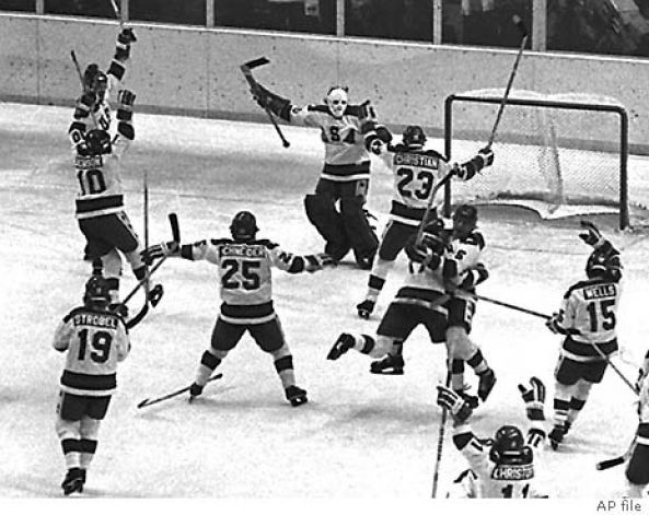 The 1980 U S Olympic Hockey Team Members Celebrate After Their Upset Victory Over The Heavily Favored Soviet Team Olympic Hockey Team Usa Hockey Hockey Teams