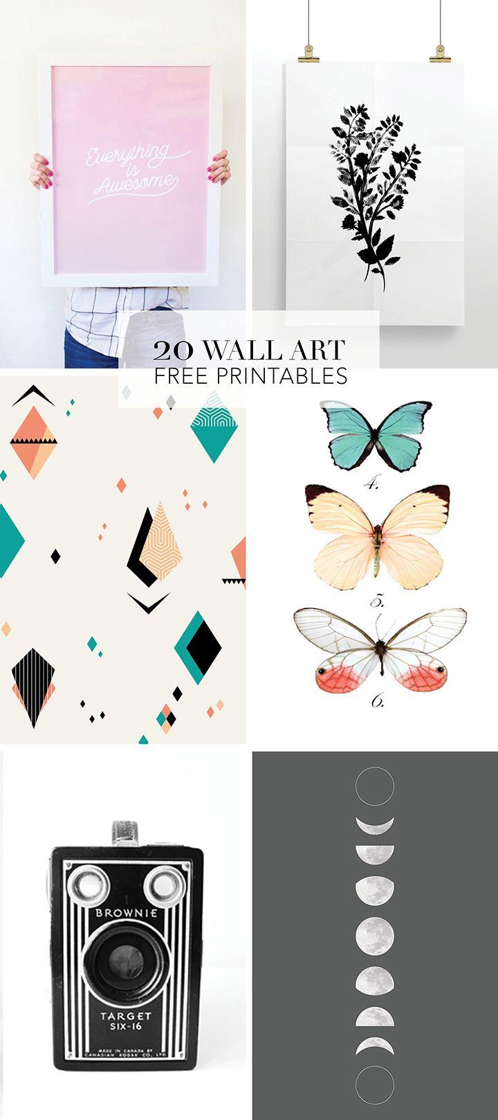 20 Favorite Wall Art Free Printables | DIY Wall decor | Diy wall art