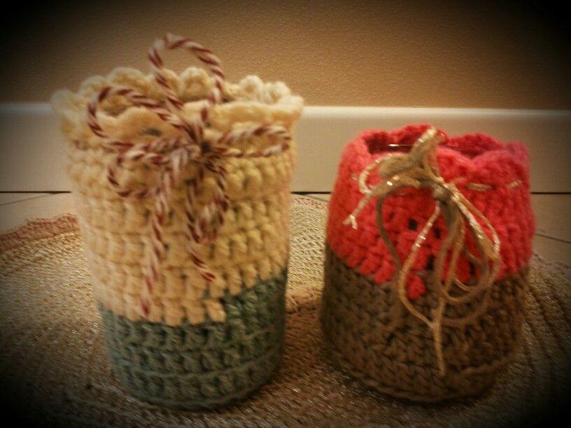 Vasetti ricoperti al crochet...handmade by me!