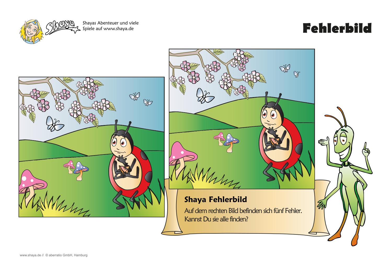 Fehlerbild für den Kindergarten: Auf dem rechten Bild befinden sich ...