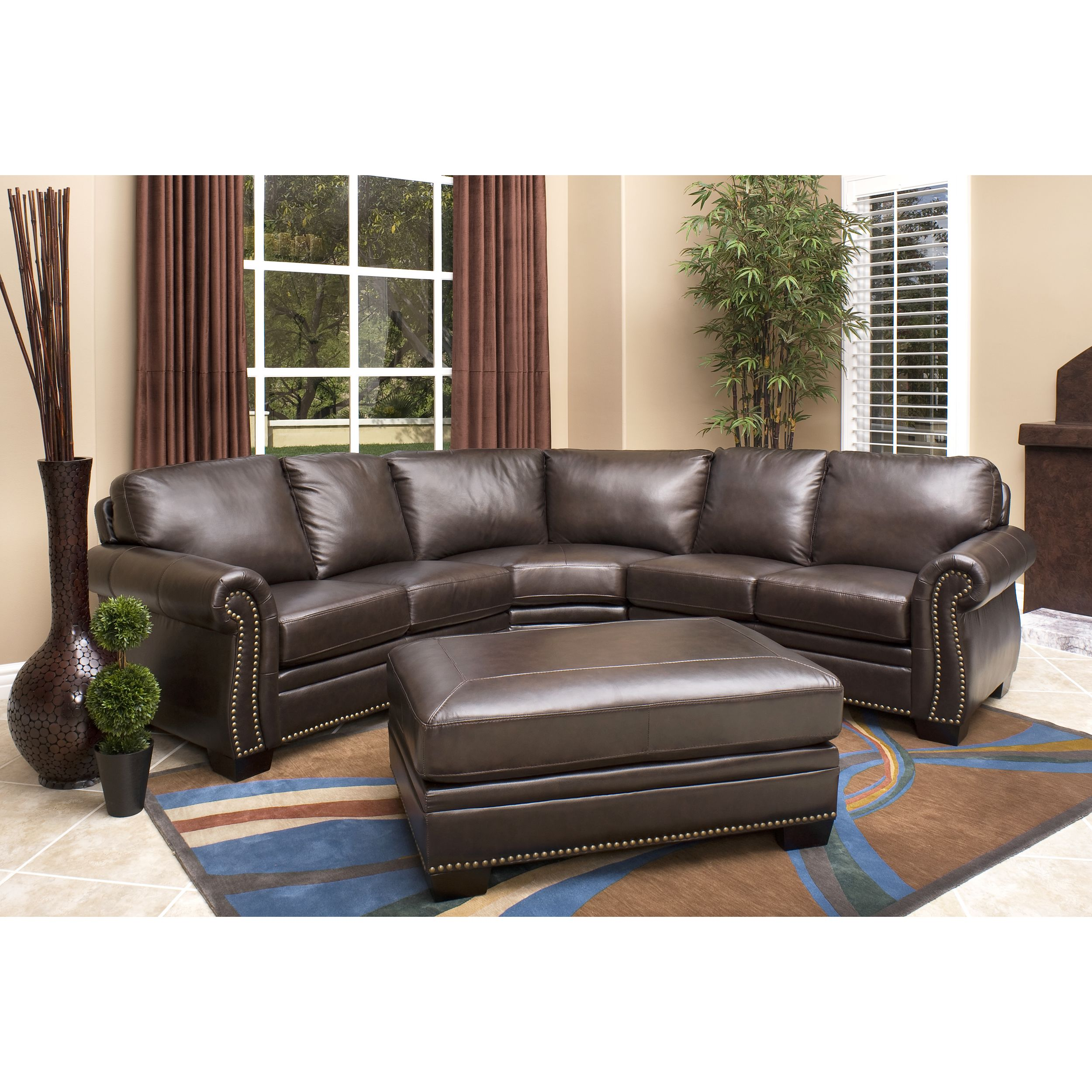 Abbyson Oxford Top grain Leather Sectional and Ottoman by Abbyson