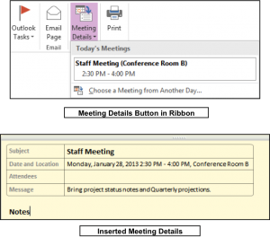 Insert Outlook Meetings In Onenote Tutorial And Instructions One Note Microsoft Outlook Calendar Meeting Notes