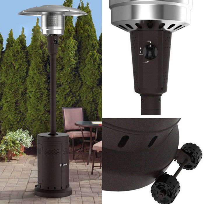 Propane Patio Heater 40,000 BTU With Wheels Push Turn Ignition Anti Tilt  Safety | Propane Patio Heater And Patios