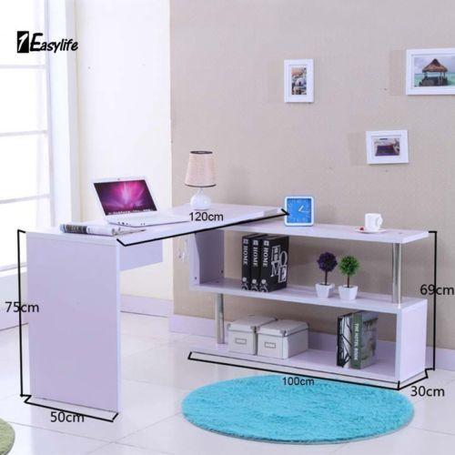 White High Gloss Home Office Computer Laptop Desk Study Table Storage Shelf Unit