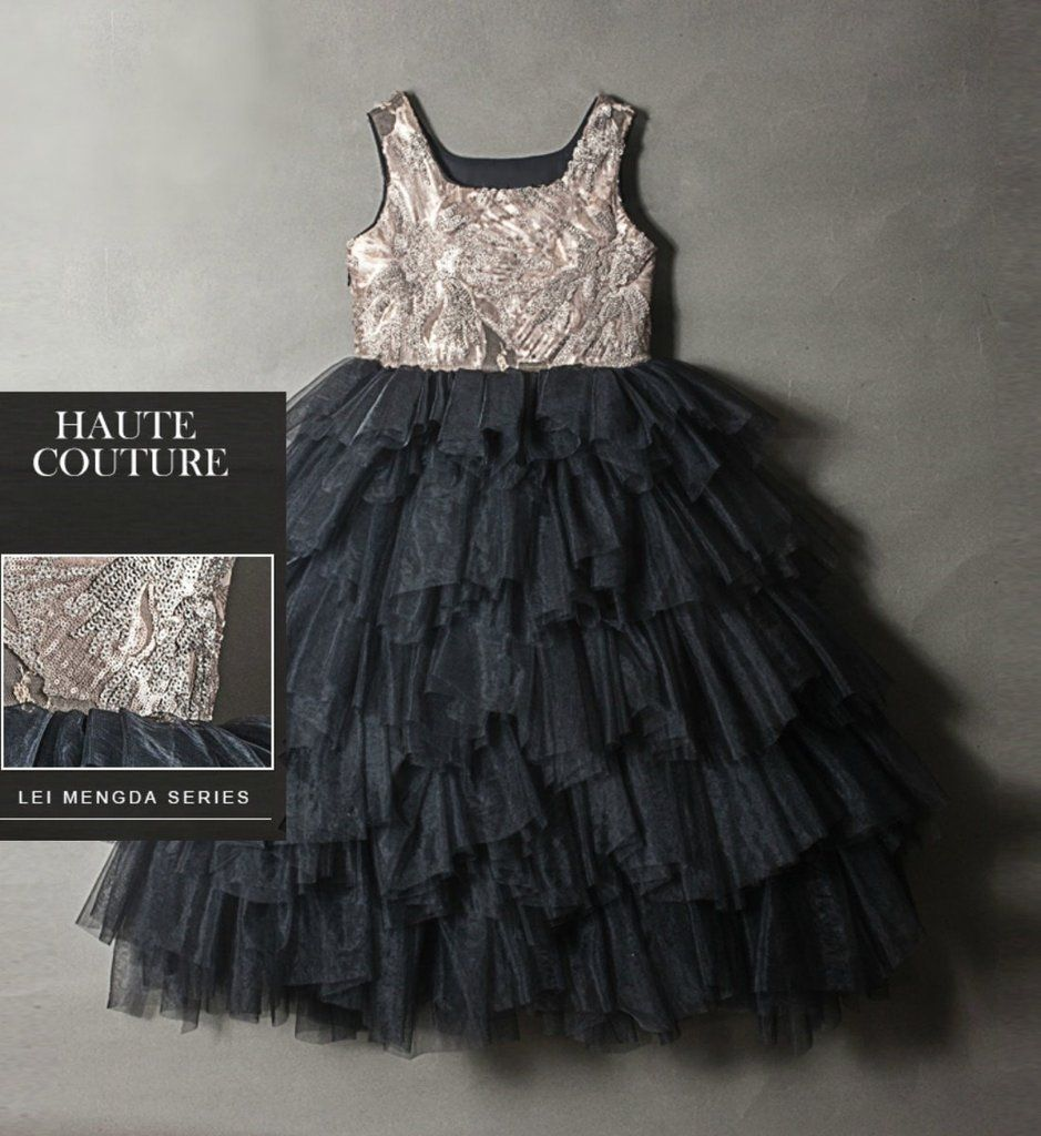 2ec6cbb4 Elegant Paillette Sequin Gown--Made To Order High Quality 3D Floral  Paillette Sequin Applique Round Neckline Sleeveless Tiered Layered Flower  Girl Dress.