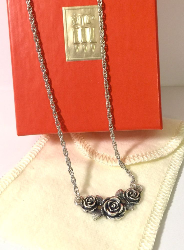 Retired James Avery Sterling Silver Rose Necklace 15 17