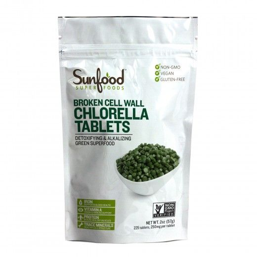 Sunfood Detoxification Chlorella Tablets, 2oz, Main Website | Sunfood.com