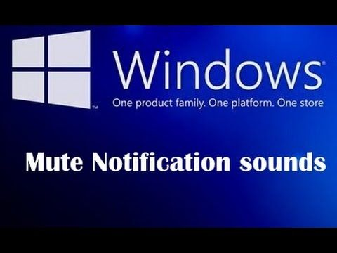 How to disable notification sounds in windows 7/8/10