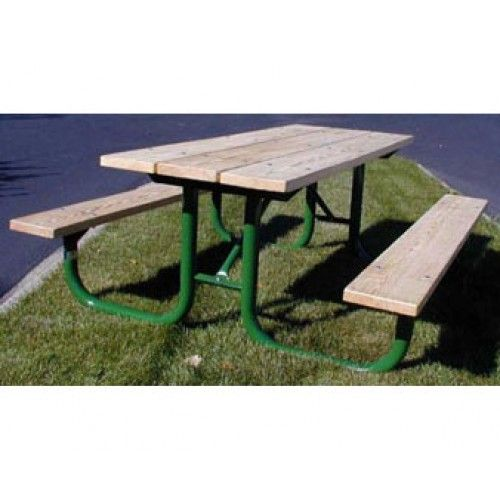 6 Ft Treated Wood Picnic Table with 2 3 8 OD Painted Metal Frame