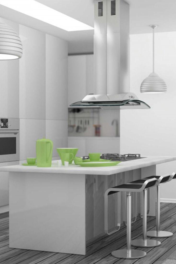 Remodel your kitchen island with the zline gl9i island stainless steel and glass range hood it has a modern design ducting and ductless venting options
