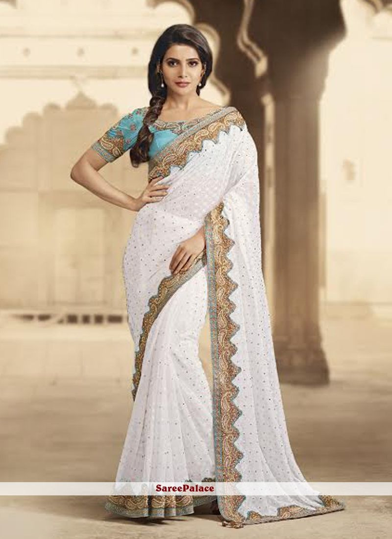 f3e8094195 Buy unique collection of designer saree online in india, usa, uk, canada.  Buy this sunshine white stone work designer party wear saree for festival  and ...