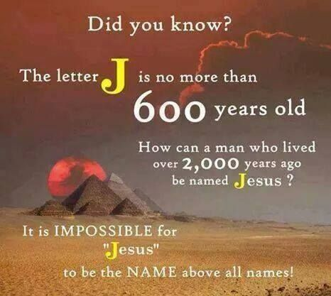 The letter J is no more than 600 years old Yeshua means salvation
