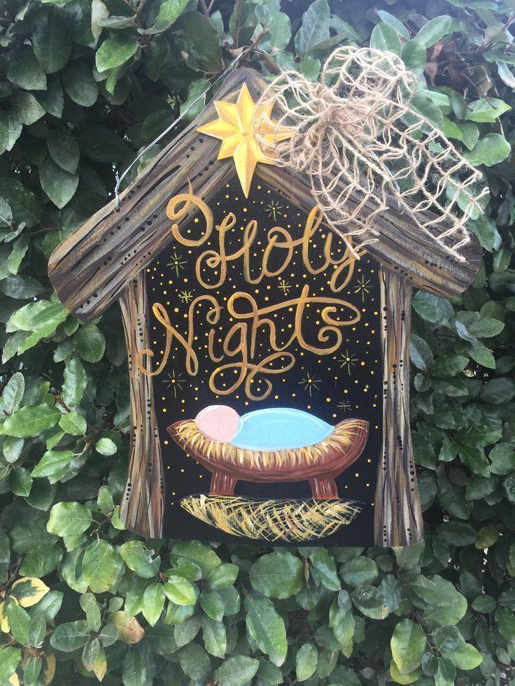 Photo of O Holy Night Manger Nativity wooden door hanger Christmas