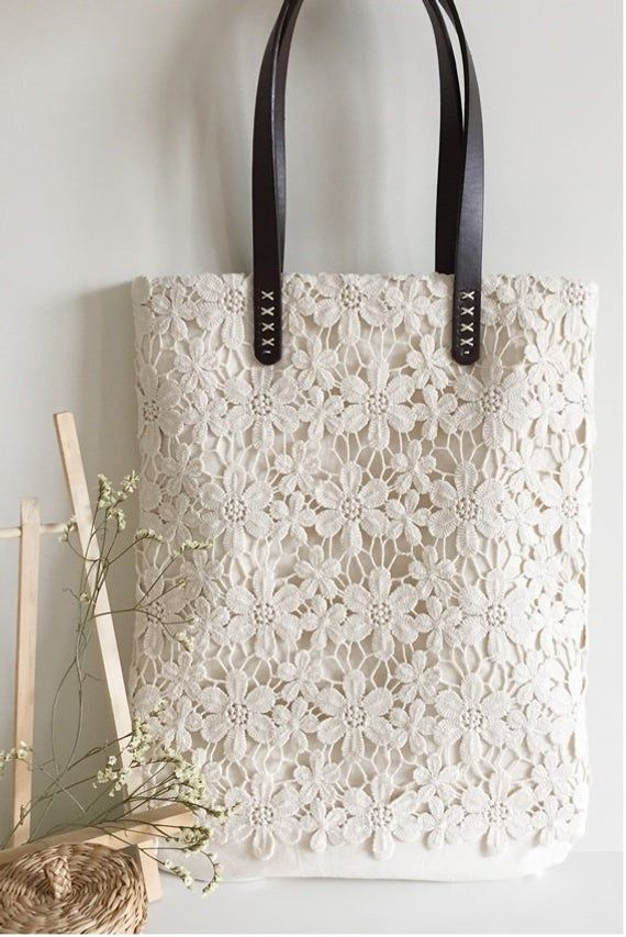 Bridesmaid Gift: Handmade Shabby Chic Cotton Wedding Bag, Lace Bag, Lace Tote, Vintage Style, Ivory/Off White Make to Order, L004