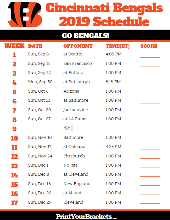 Cincinnati Bengals Schedule 2019 Printable Cincinnati Bengals Schedule   2019 Season | Printable