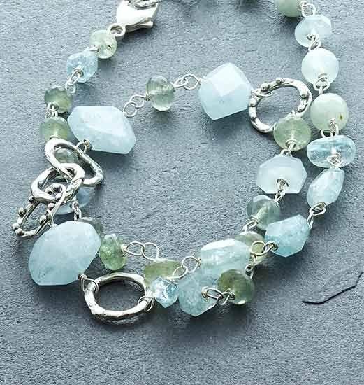 "Susan Schaps Aquamarine Necklace - Sterling silver, aquamarine and moss aquamarine necklace with lobster clasp, 18"""