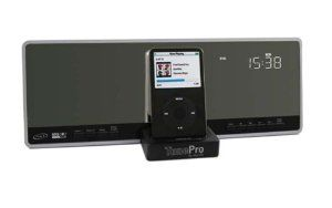 Macally Flat Panel Stereo System With Am Fm Alarm Clock And Ipod