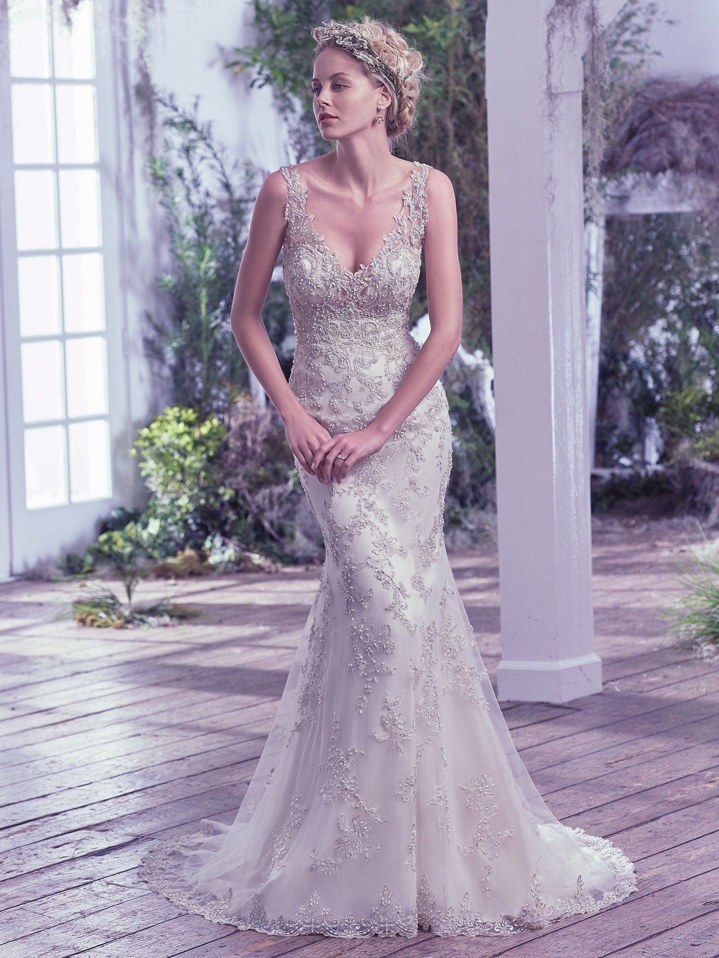 5b8d3911834 Finished with stunning scoop open back and zipper closure. This bead  embellished sheath wedding dress ...