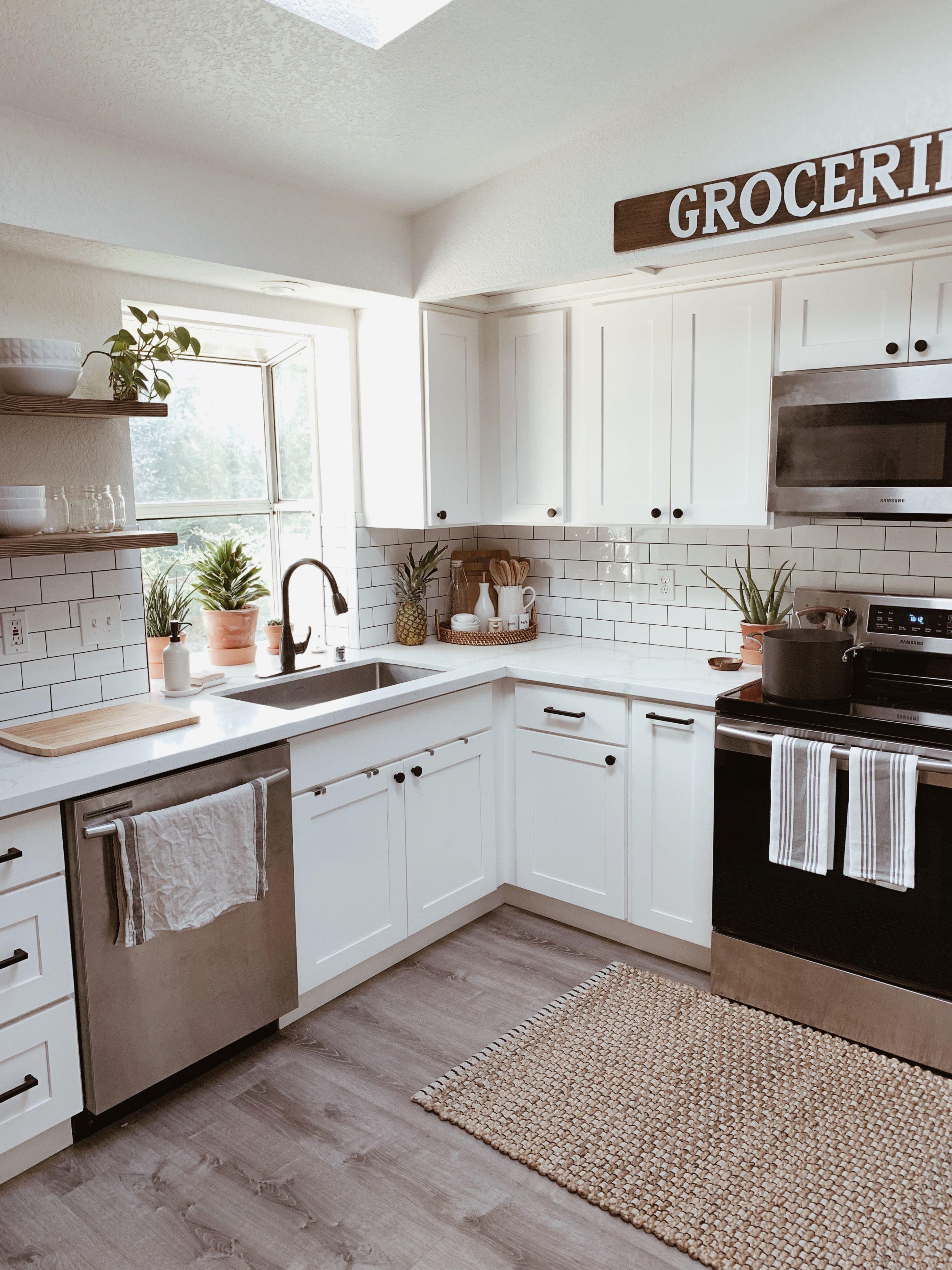 Farmhouse Boho Kitchen In 2020 White Tile Kitchen Backsplash Kitchen Remodel Small New Kitchen