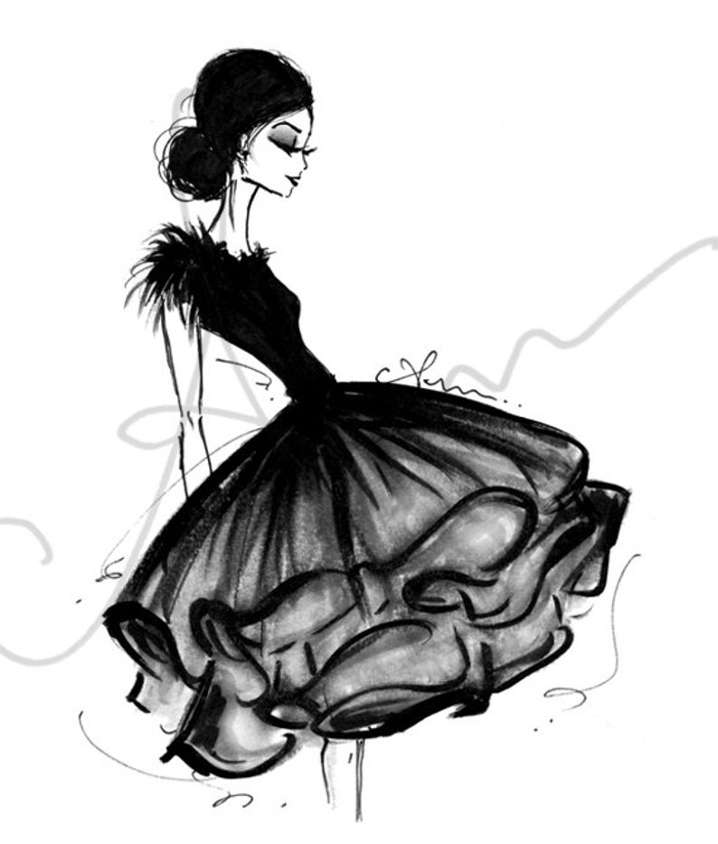 Fashion Illustration Print, Frills, 8x10