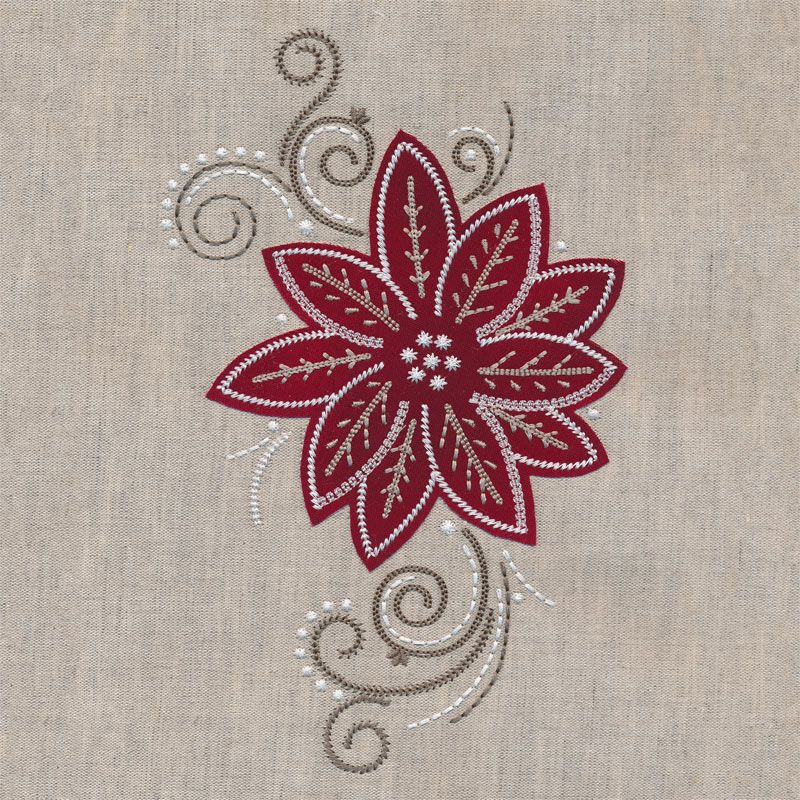 Poinsettia 1 Applique (With images) Christmas embroidery