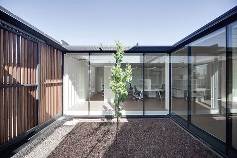 Spacious Light Filled Offices Made From 20ft U0026 40ft Shipping Containers  With Full Height Glazing And Internal Courtyards In Victoria, Australia By  Room 11.
