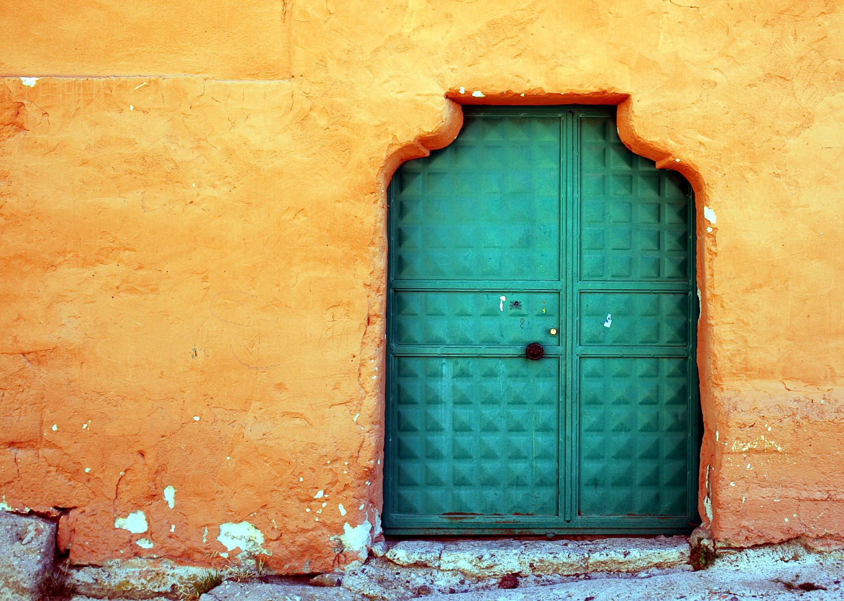 Textured Teal Door In Orange Facade Turquoise Dooraqua Doorcolored