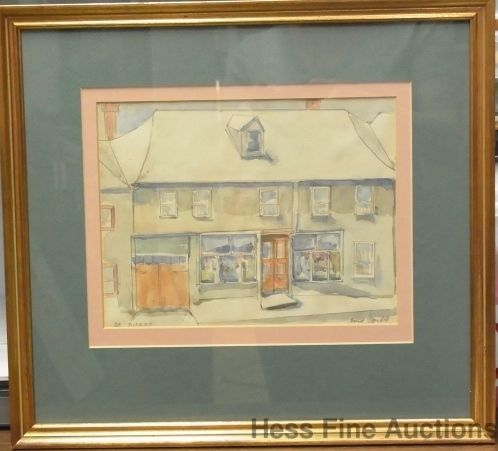 Vintage Enid Spidell Watercolor Painting St Pierre French Canadian New Brunswick #Impressionism