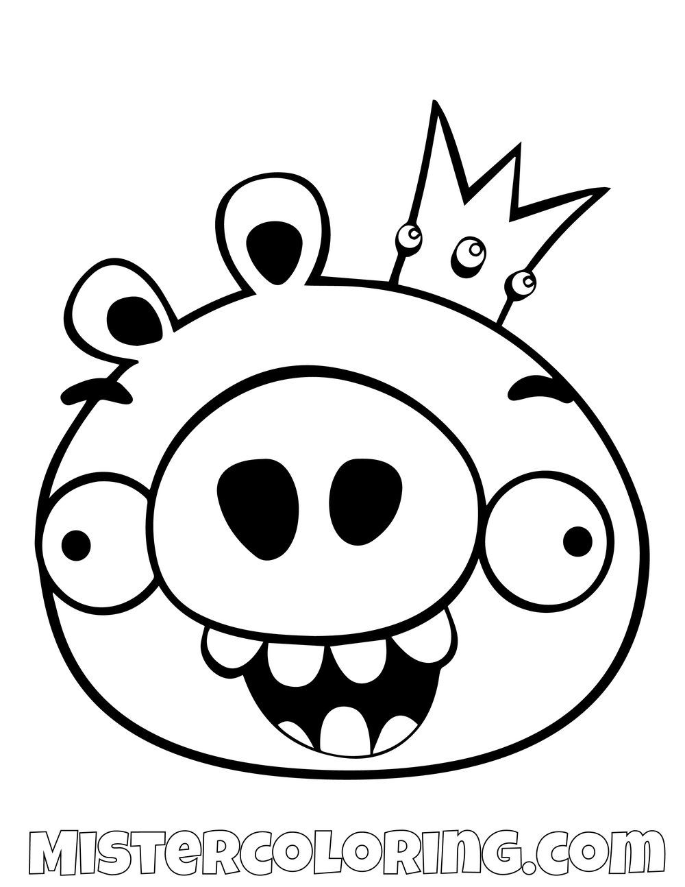 King Pig Simple Angry Birds Coloring Pages Bird Coloring Pages