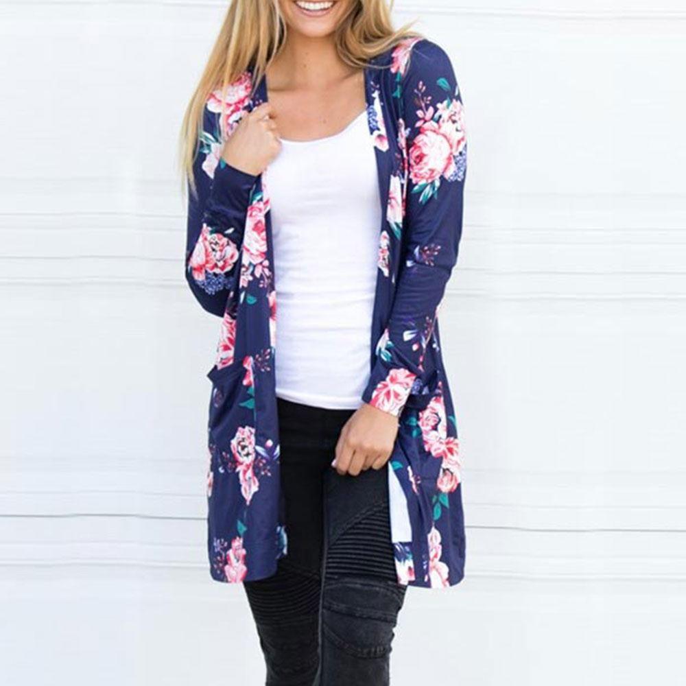 Women Floral Printed Pocket Cardigan Plus Size S-3XL Navy Blue ...