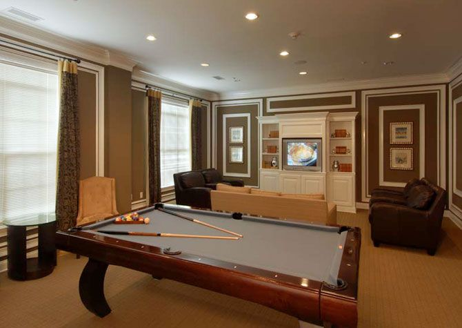 The clubroom at Post Ballantyne is a great place to hold events with friends and family! Call 844.762.5142 to get more information regarding the available apartment homes,