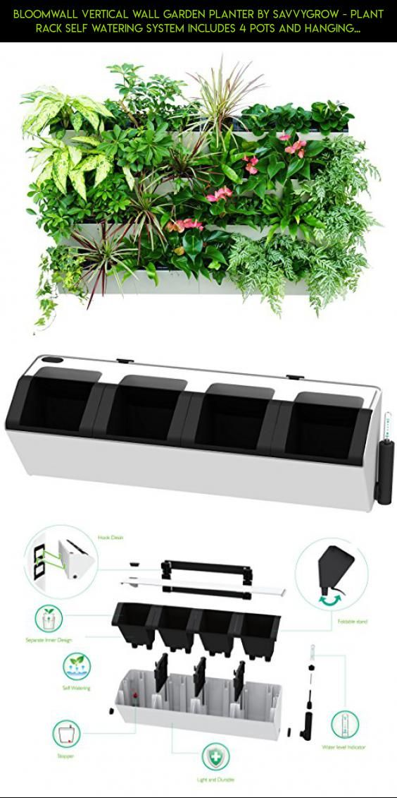Bloomwall Vertical Wall Garden Planter By Savvygrow Plant Rack Self Watering System Includes 4 Pots And Hanging B Herb Wall Vertical Garden Herb Growing Kits