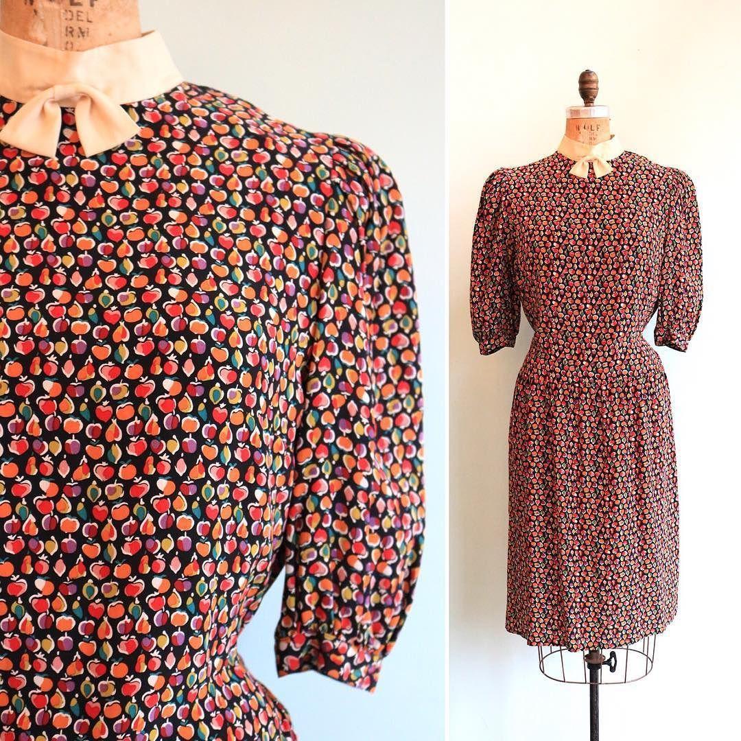 7ff90a77ba1 80s does 40s silk fruit print dress NEW online! Size medium
