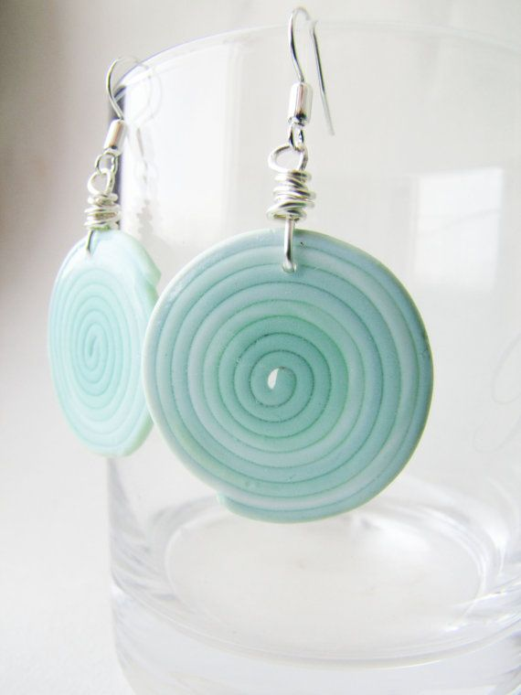 Mint round dangle earrings. Geometric swirl shape Tender summer ...