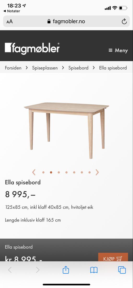 Ella spisebord 85x125 › Spisebord Spiseplassen › Fagmøbler