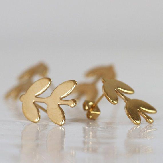 Leaves Earrings Gold Flower Studs Small