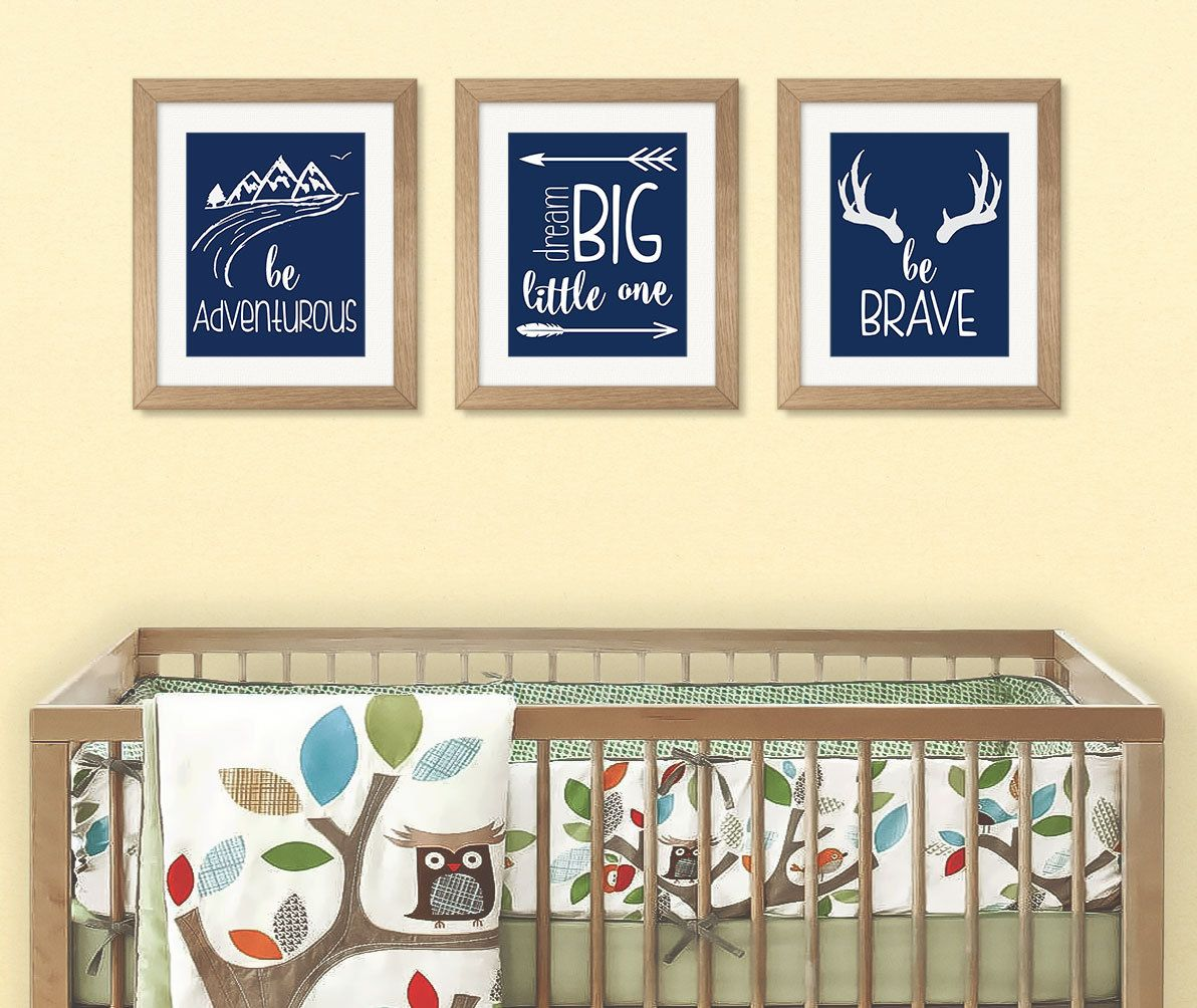 Navy Nursery Wall Art, Set of 3, Dream Big Little One, Be Brave, Be ...