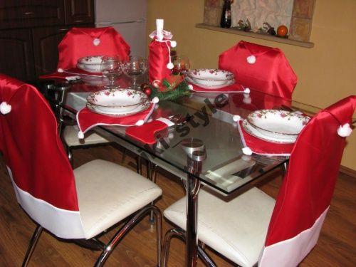 Swiateczne Pokrowce Na Krzesla Mikolaj Pokrowiec 4656316834 Oficjalne Archiwum Allegro Table Settings Table