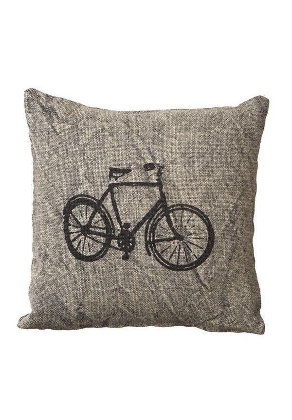 Grey Bicycle Pillow