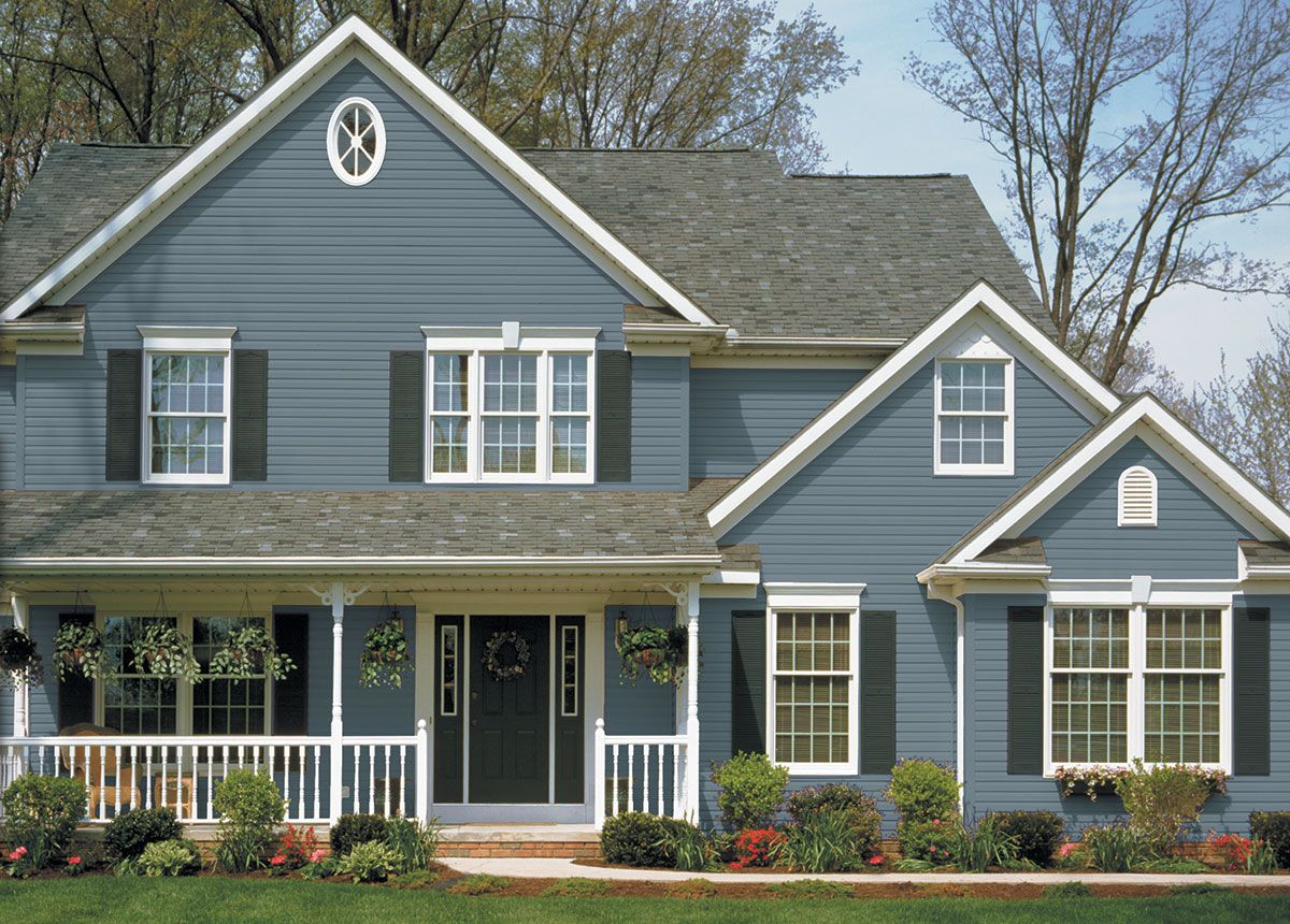 Trendy norman rockwell vinyl siding n rockwell color for Blue house builders